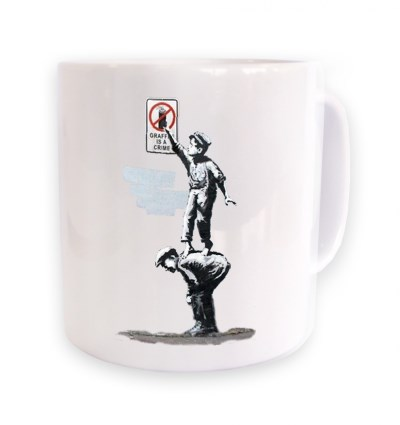 Mug Banksy Grafitti Is A Crime